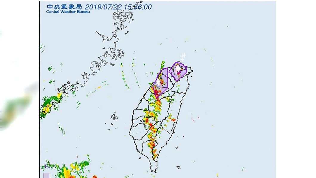 中央氣象局發出大雷雨警報。圖/翻攝中央氣象局。