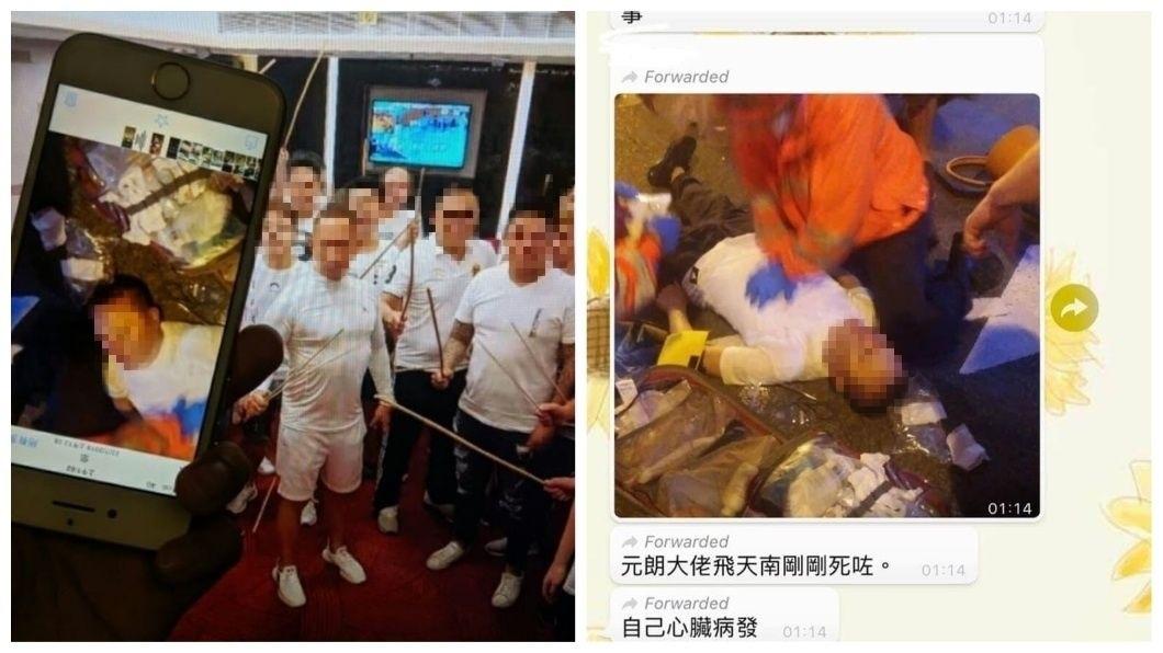 香港網友流傳這名白衣男是黑幫老大「飛天南」,目前生死未卜。(圖/翻攝自臉書)