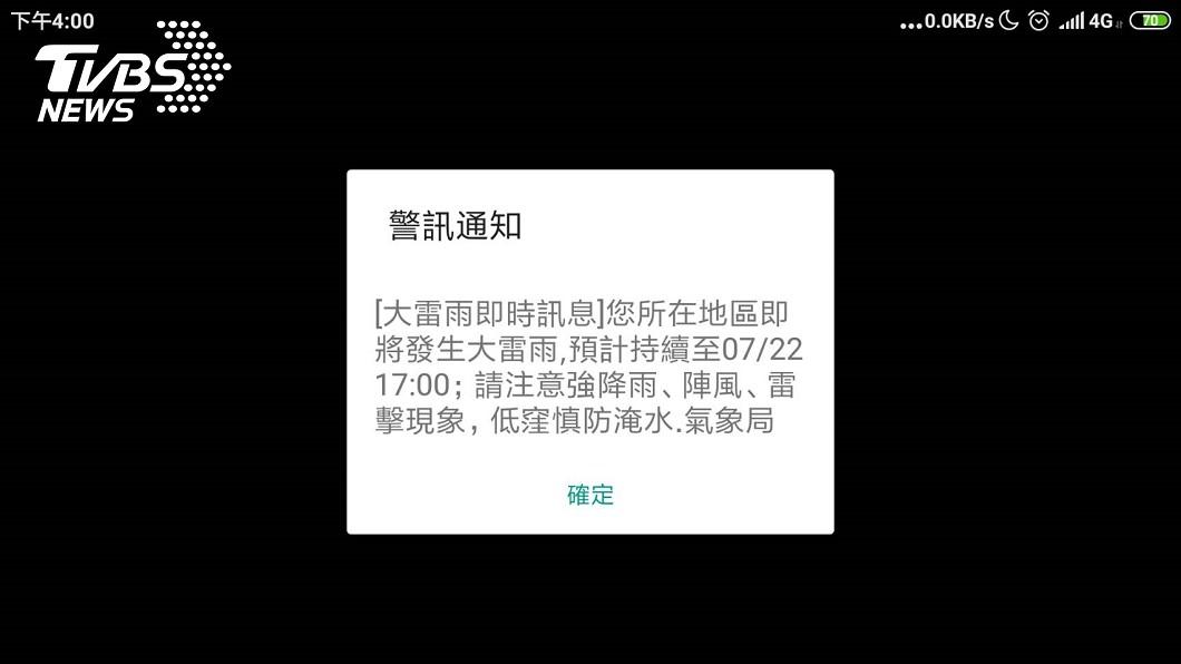 中央氣象局發出國家警報,提醒大雷雨訊息。圖/TVBS