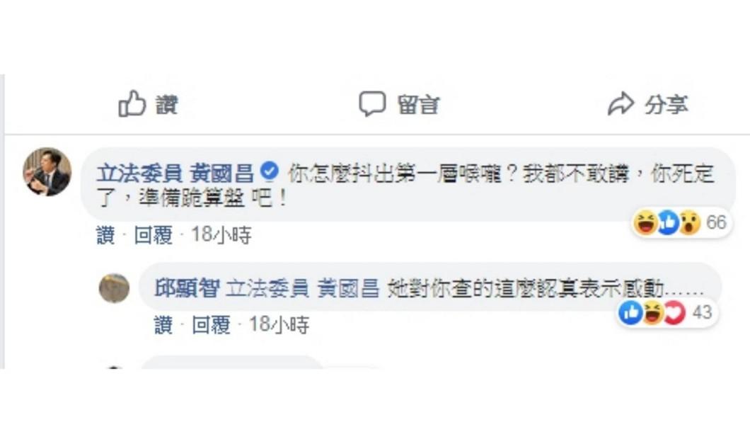 黃國昌和邱顯智互相回文,引來網友按讚。圖/翻攝邱顯智臉書