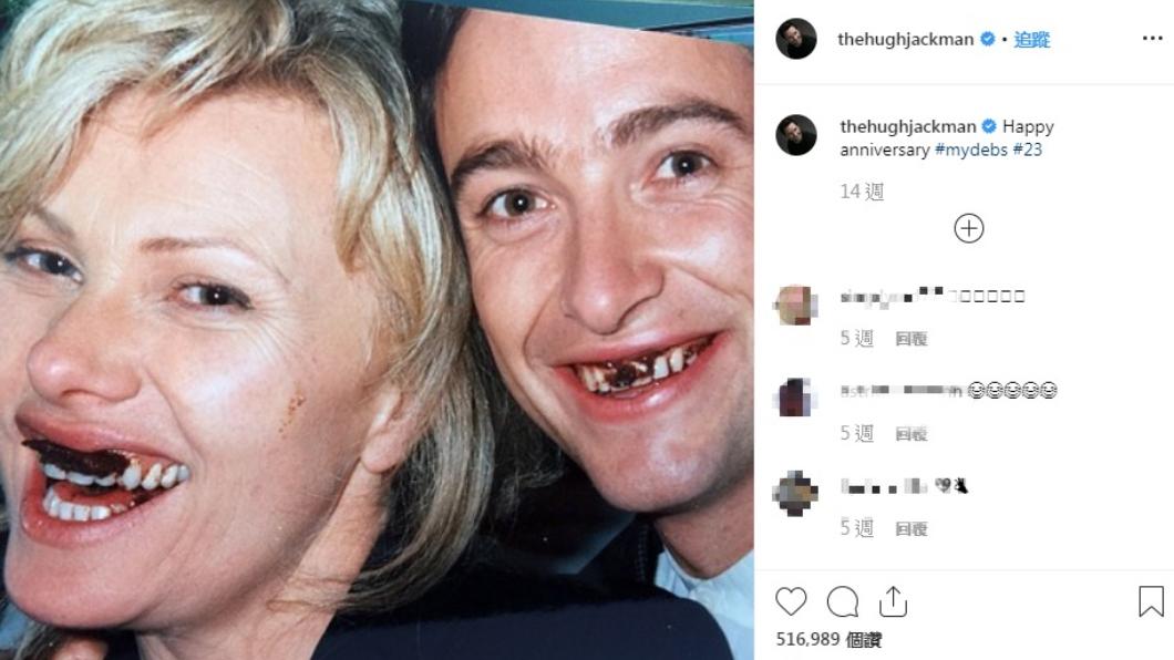 休傑克曼在第23年結婚紀念日上,PO出和太太的年輕合照。圖/翻攝自休傑克曼(Hugh Jackman)IG