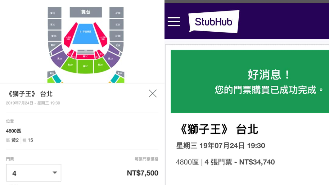 原PO購買獅子王音樂劇4張票,共3萬4740元。圖/翻攝臉書爆料公社 媽想看音樂劇!孝女上網買「一張7千5」 收到票崩潰了
