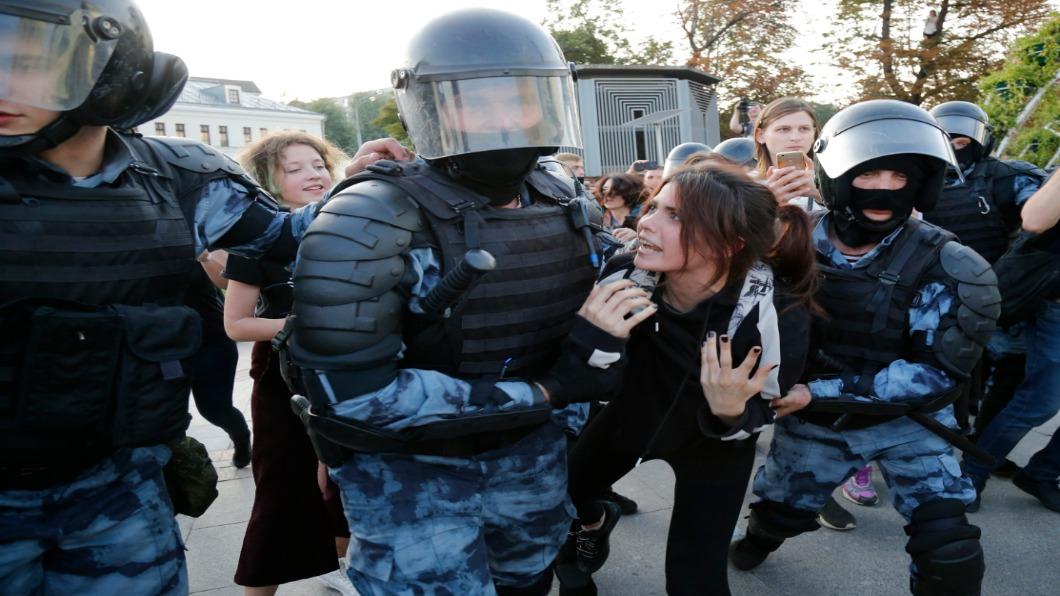 圖/達志影像美聯社 莫斯科示威爭公平自由選舉 逾千人遭逮捕