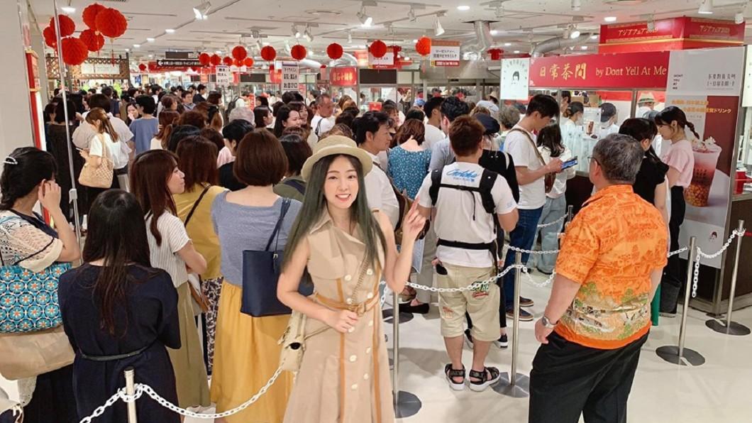 丫頭飲料店在日本亞洲展大排長龍。圖/翻攝自丫頭臉書