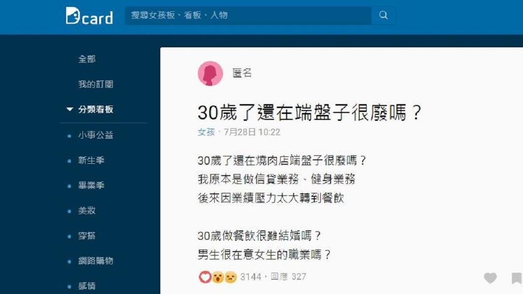 有女網友發文詢問,30歲了還在做端盤子工作會很廢嗎?(圖/翻攝自Dcard)