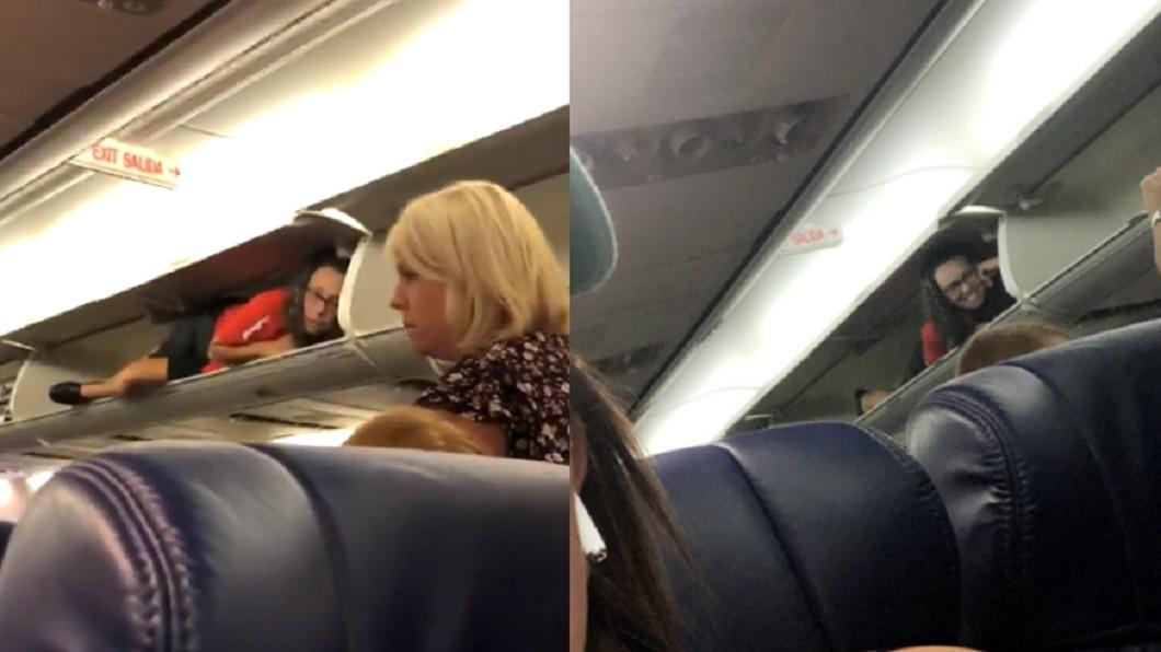 圖/翻攝自Verny Vern 推特 空姐「躺行李架」招呼乘客 乘客看傻:我在作夢嗎?