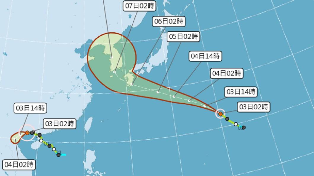 目前7號颱風薇帕、8號颱風范斯高,對台灣並無直接影響。圖/翻攝中央氣象局 9號颱風「利奇馬」最快這天生成 下週可能有雙颱!