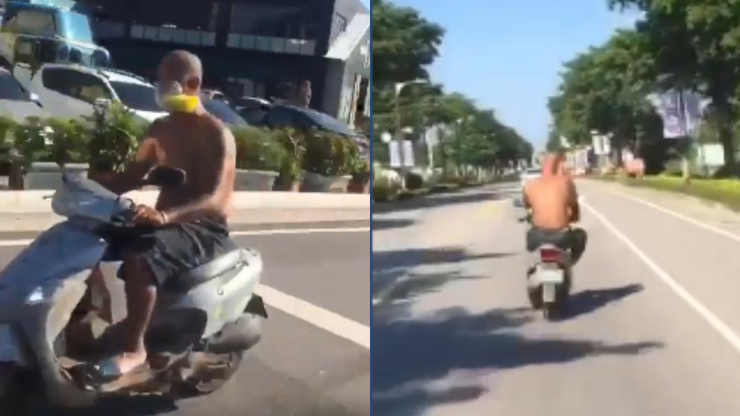 近日金門出現一名行為怪異的男子。圖/翻攝自臉書「靠北金門」 騎車吸膠!半裸光頭男蛇行駕駛 左右搖擺嚇壞路人