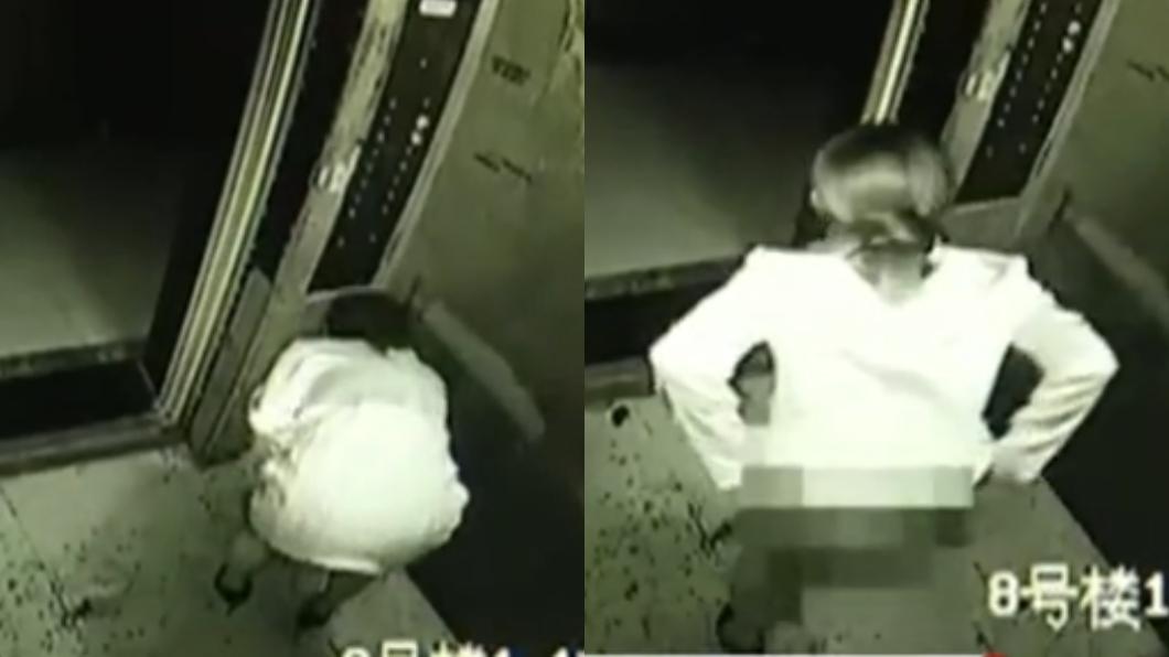 透過監視器畫面發現尿尿的竟是一名年輕女子。圖/翻攝自微博