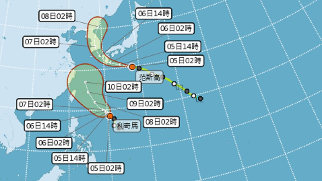 圖/翻攝自氣象局 9號颱風「利奇馬」逐漸增強 對台威脅倍增