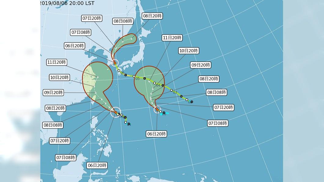 3颱共舞。圖/翻攝中央氣象局 週四放颱風假?看一張圖 氣象專家這樣說