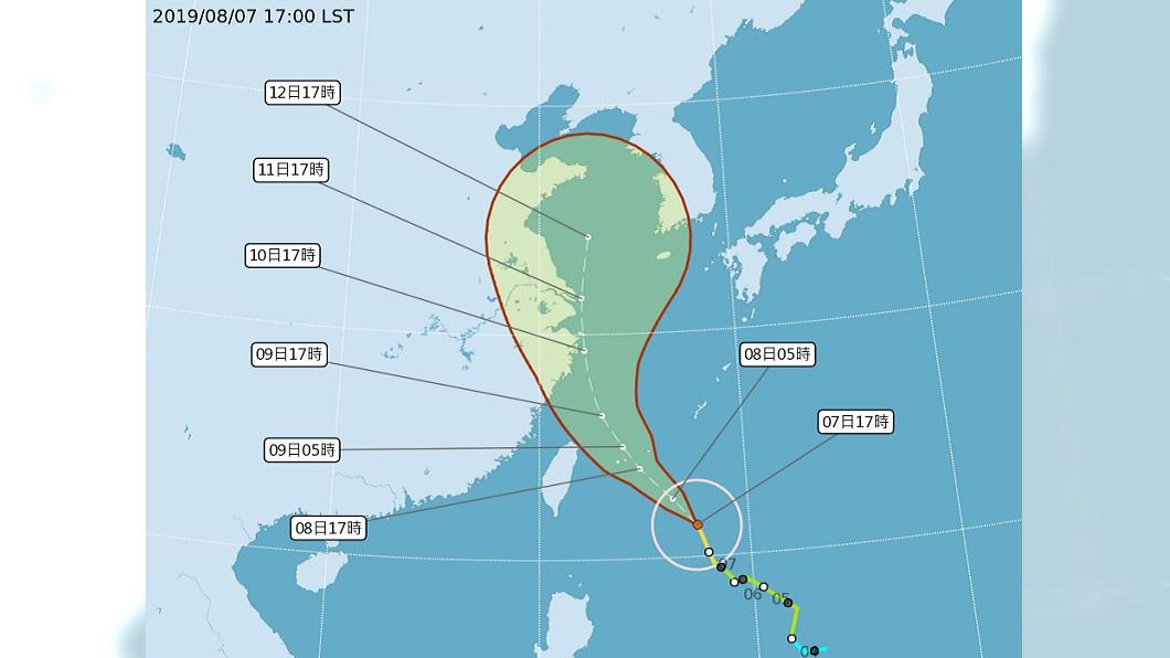 圖/中央氣象局 【最後更新】中颱利奇馬逼近! 全台8日停班停課一覽表
