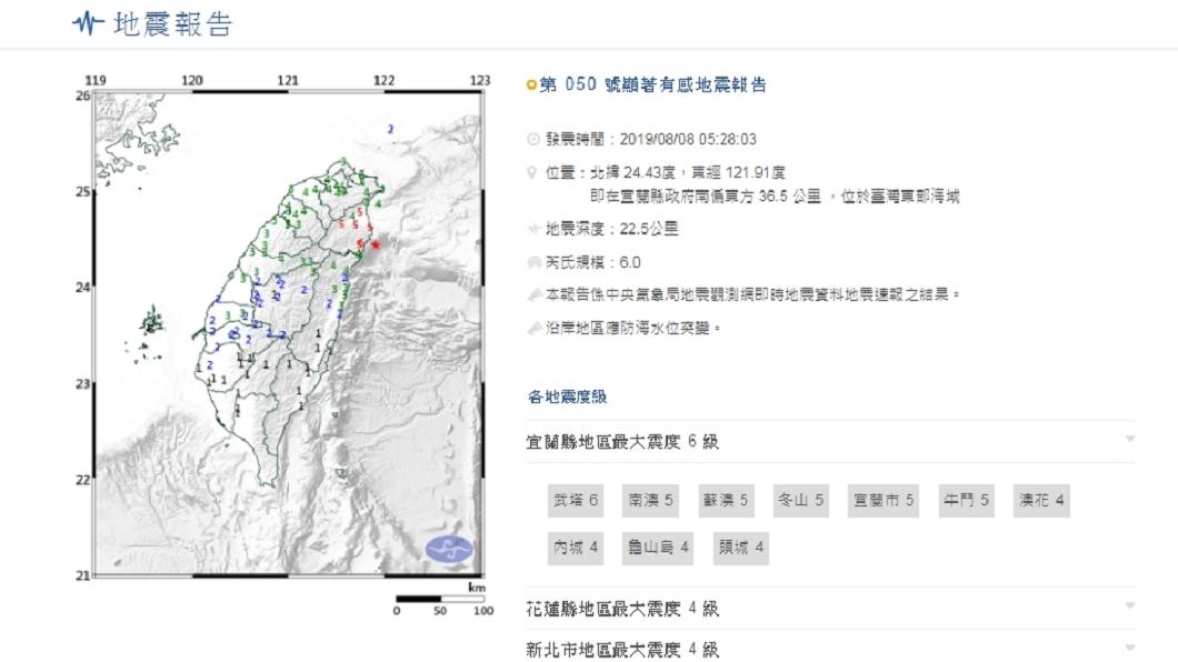 圖/中央氣象局 宜蘭近海規模6強震點旁 99年前曾有規模8地震