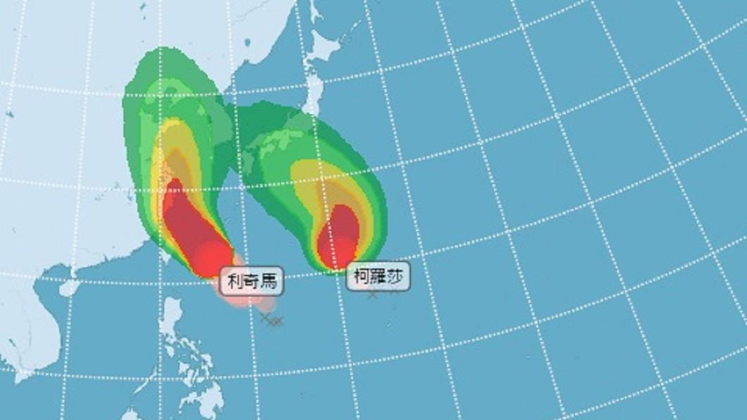 圖/中央氣象局 利奇馬增強為強颱 基隆雙北宜花陸上警戒