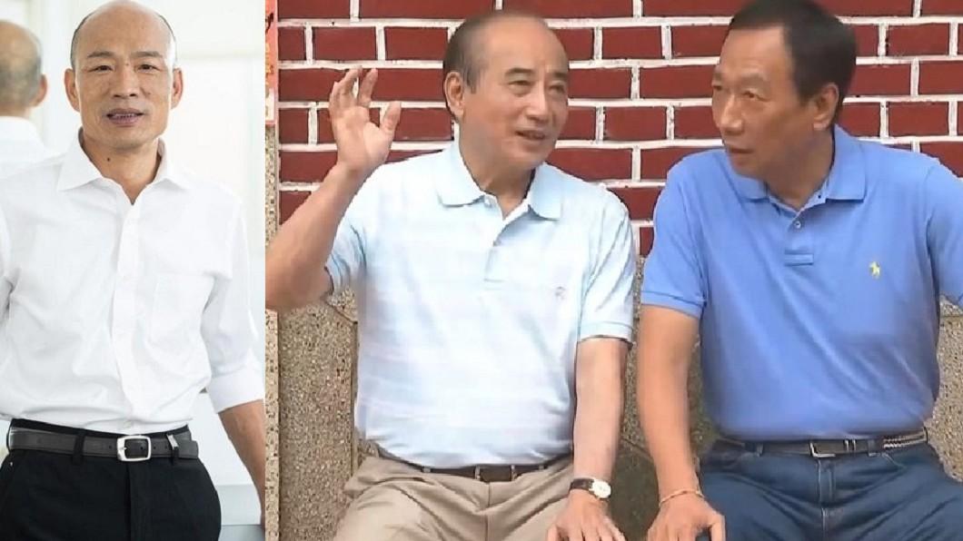 高雄市長韓國瑜(左)、前立法院長王金平(中)、鴻海創辦人郭台銘(右)。圖/翻攝自韓國瑜臉書、TVBS資料照(合成圖) 韓國瑜CALL郭台銘轉「語音信箱」 王金平給這建議