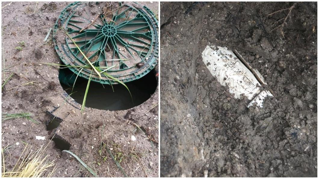 事後得知,當時外面閃電打中屋外的化糞池,意外點燃甲烷,透過汙水管才會導致馬桶爆炸碎裂。(圖/翻攝自臉書)