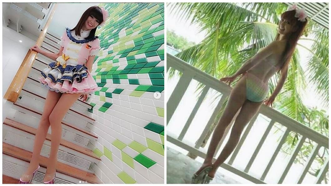 日本一名50歲的美魔女平日熱中Cosplay,扮起16歲的女高中生毫無違和感。(圖/翻攝自IG) 角色扮演動漫16歲女高生 50歲美魔女嫩白細腿無違和