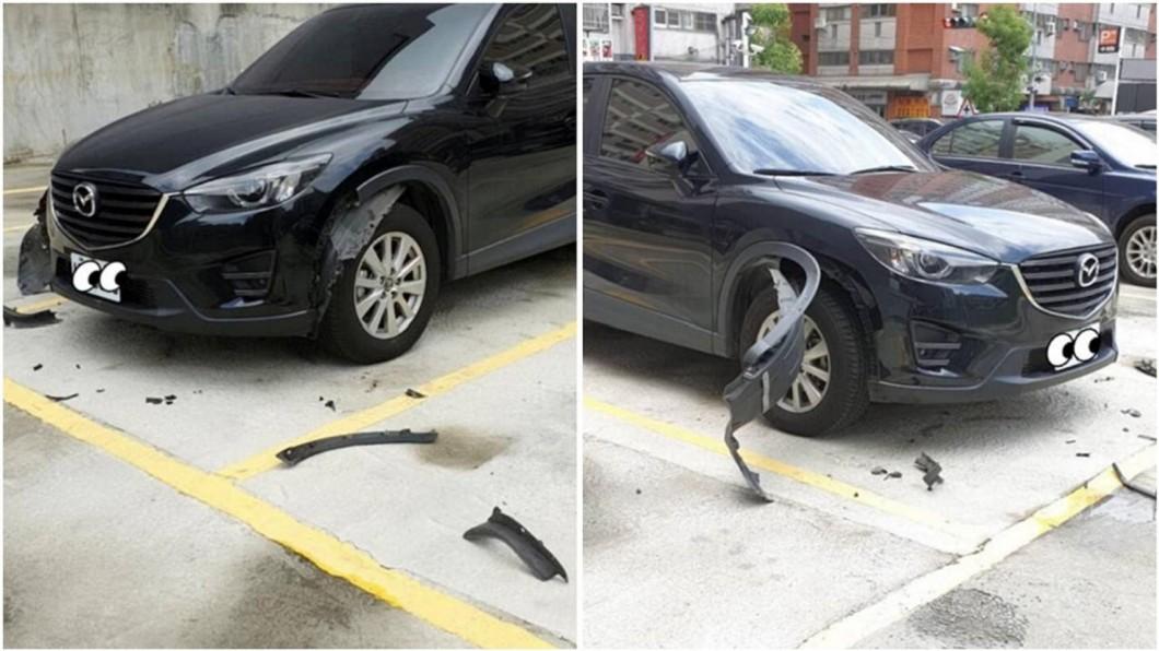百萬轎車的葉子板輪弧肢離破碎。合成圖/翻攝爆廢公社臉書