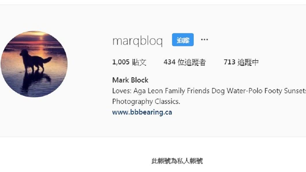 謝婷婷在IG的限時動態標註Mark Block帳號,被網友猜測可能是女兒的生父。圖/翻攝marqbloq IG
