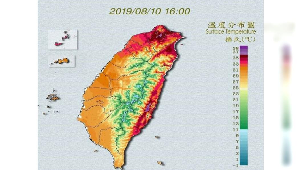 圖/中央氣象局 快訊/橙燈高溫警戒! 花蓮、台東、大台北飆38°C