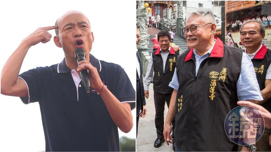 陳宏昌(右)公開致詞時挺蔡英文連任,還暗批國民黨總統參選人韓國瑜(左)。 遭自家人酸只會玩樂 韓國瑜認了:今天的我不一樣