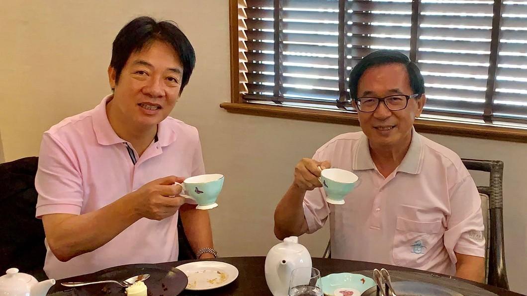 圖/截自臉書「新勇哥物語」 睽違2年陳水扁會賴清德 不約而同穿粉色上衣