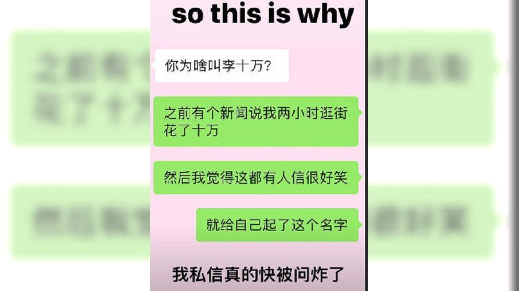 李嫣親自截圖說明。圖/翻攝新浪娛樂微博
