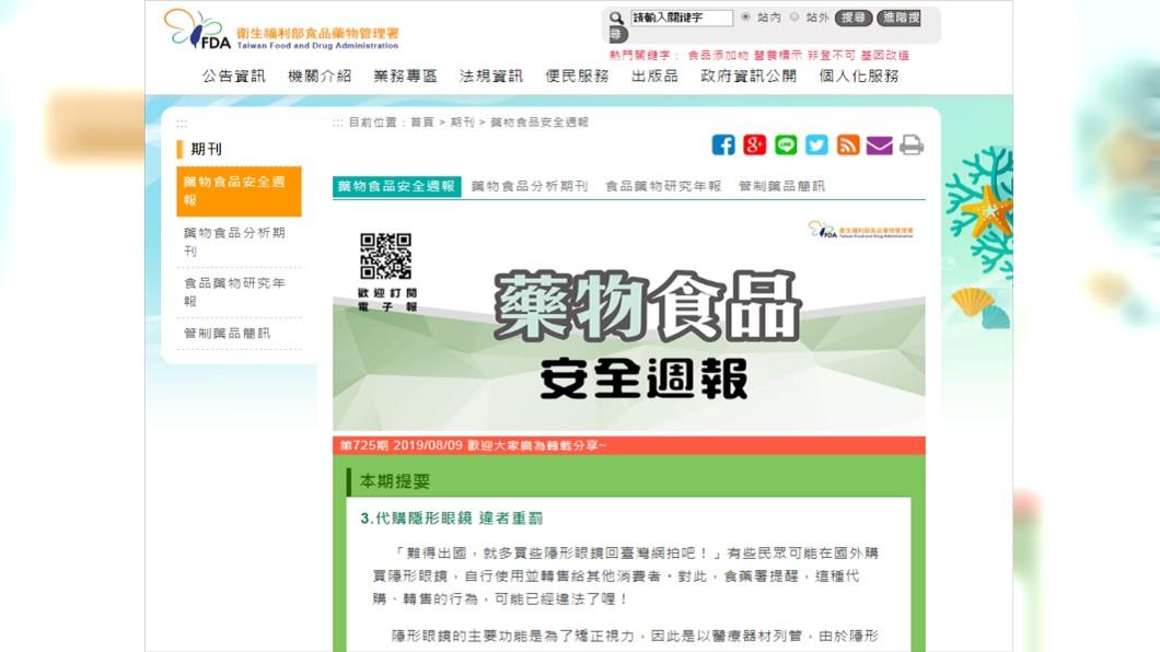圖/翻攝自衛生福利部食品藥物管理署官網