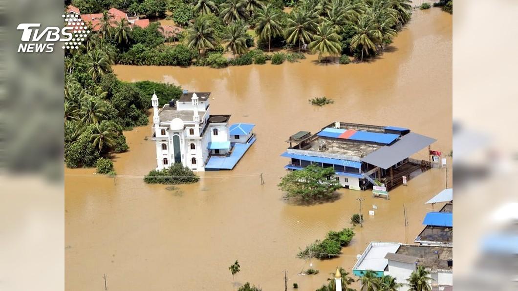 圖/達志影像美聯社 印度水患家園泡水 鱷魚沖上屋頂民眾看傻