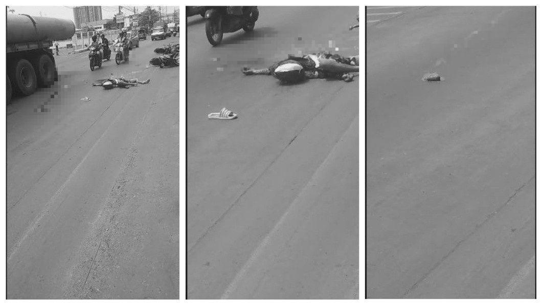 泰國日前發生一起驚悚的死亡車禍,騎士遭輾斃後心臟被擠壓出體外,掉在路面還持續跳動。(圖/翻攝自臉書) 驚悚!騎士遭卡車輾斃 心臟噴飛掉路上「持續跳動」