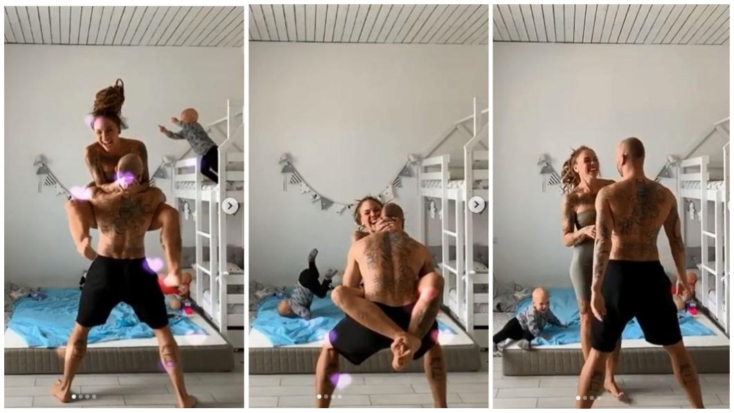 俄羅斯一對年輕父母忙著拍抖音影片,沒發現3歲兒子竟然模仿媽媽的飛撲動作,整個人跌在床鋪上所幸沒事。(圖/翻攝自IG) 小夫妻瘋抖音…3歲兒模仿母飛撲 2米高床墜下脖子著地