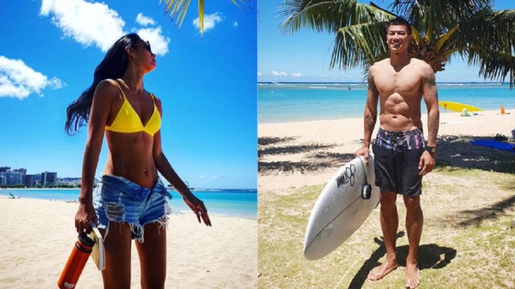 六月王麗雅與王信凱到夏威夷度假,IG照片中的棕櫚樹、白沙灘和湛藍海水,成為他們相愛的線索。圖/翻攝自王麗雅、王信凱IG 走過情變低潮 名模秘戀大肌天菜