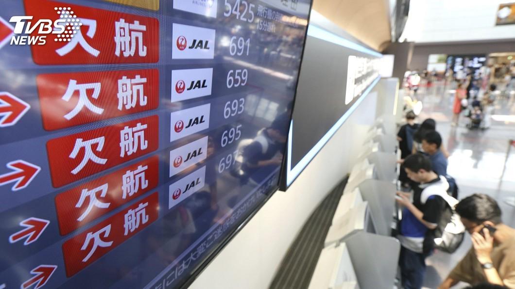 圖/達志影像美聯社 柯羅莎颱風撲日 日航、全日空取消數十航班