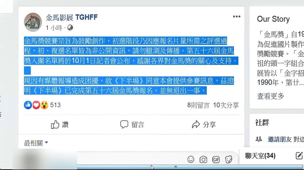 圖/翻攝自金馬獎臉書專頁