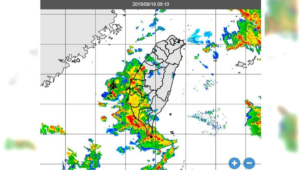 18日上午9時10分雷達合成回波圖。圖/翻攝中央氣象局