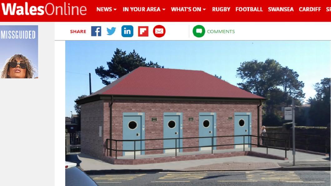 新建公廁外觀的模擬圖。圖/截自WalesOnline