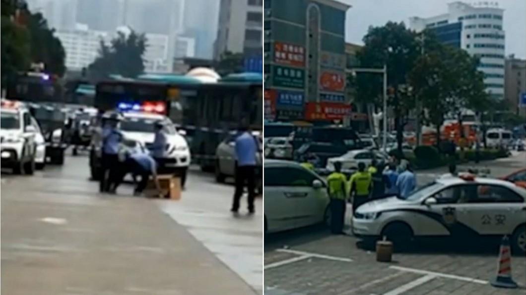 警方出動大量人力,在現場圍起封鎖線。合成圖/翻攝搜狐視頻