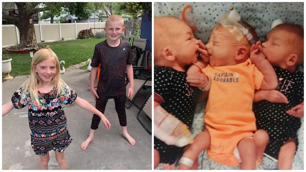 婦人本來就育有1子1女,現在又多了2個弟弟1個妹妹,讓這對小兄妹超開心。(圖/翻攝自臉書)