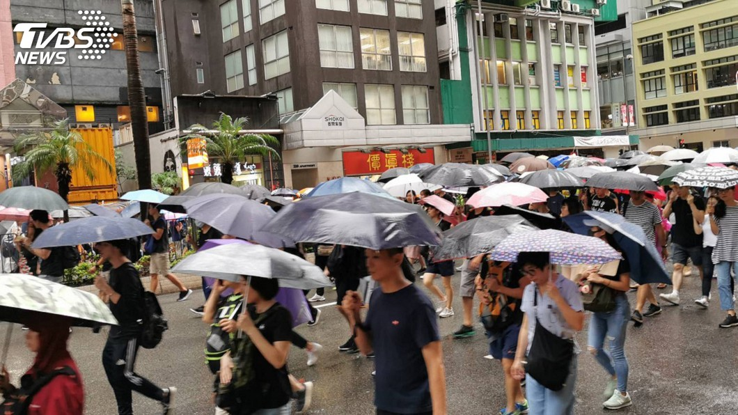 圖/中央社 香港818反送中集會平和落幕 環時:未來兩週很關鍵