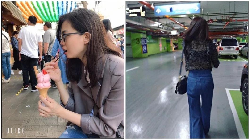 女大生還分享自己母親吃冰淇淋和背影照。(圖/翻攝自Dcard)
