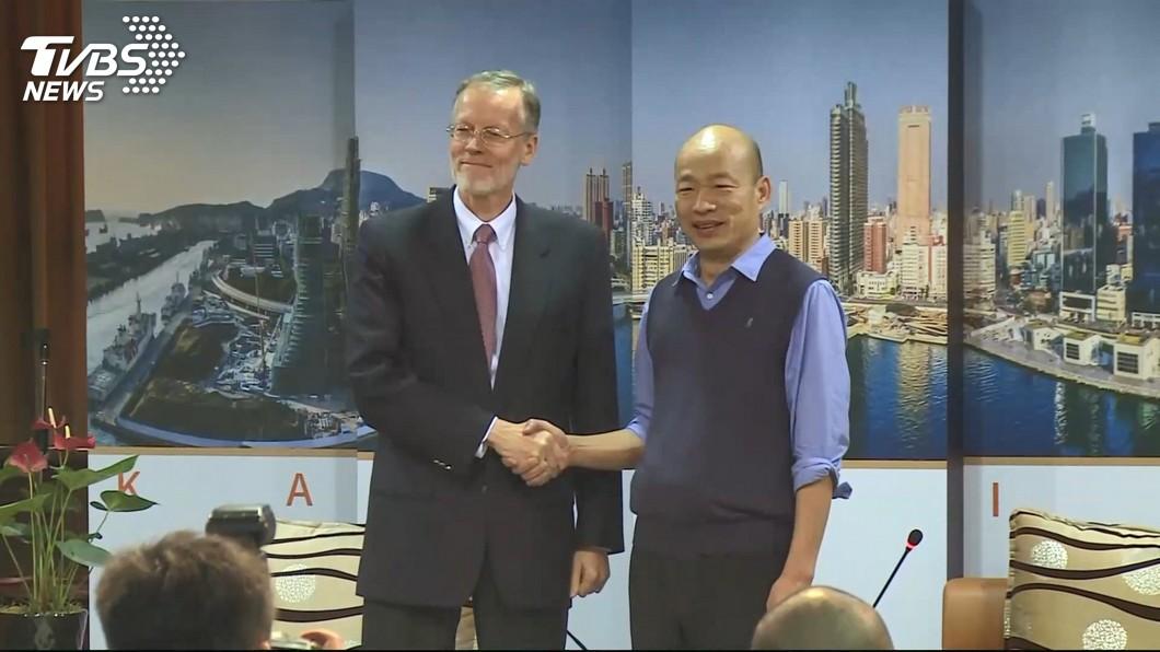 圖/TVBS AIT處長酈英傑拜會韓國瑜 藍委:踏出好的一步