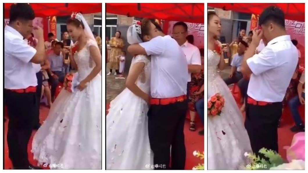 大陸某處鄉下日前舉辦一場婚禮,但婚禮的主角新郎新娘,竟然是一對兄妹。(圖/翻攝自微博) 哥哥討不到老婆 娶了「超正妹妹」為妻
