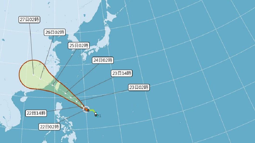 圖/中央氣象局 颱風白鹿朝台灣來 氣象局估明天陸續海陸警報