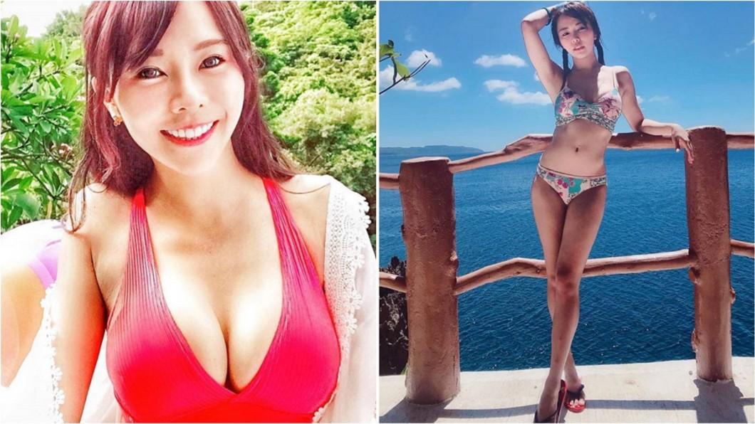 LamiGirls隊長巫苡萱。合成圖/翻攝巫苡萱 Ava Wu臉書 硬要擠成G! 8小時後撕下膠帶…胸部慘變這樣