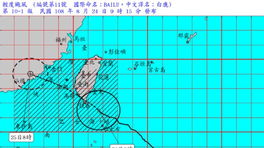 圖/翻攝自中央氣象局官網 輕颱暴風圈逼近東南部 專家:恐中午登陸