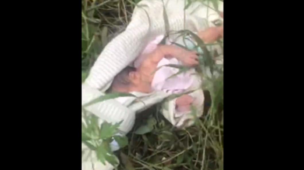 女嬰被丟棄在路邊草叢。圖/翻攝自微博 她患病捨命生女 嬰竟遭狠心丟棄「這孩子活不久」