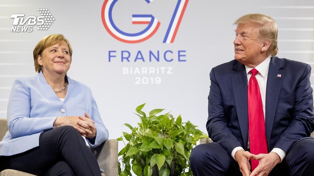 圖/達志影像美聯社 G7領袖互動話題足 川普妙語梅克爾笑了