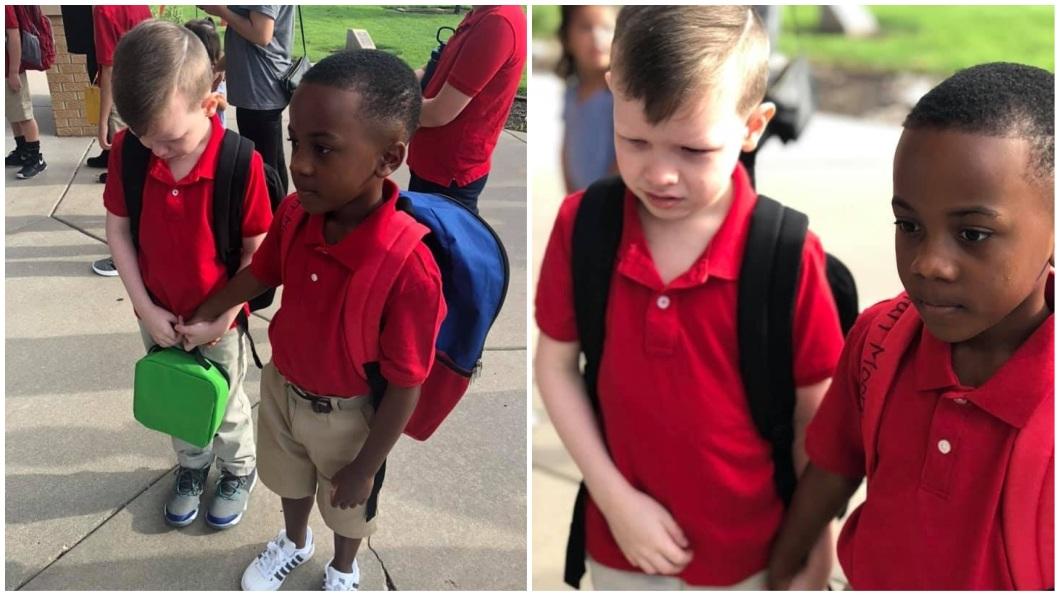 1名8歲男童開學時疑似自閉症發作焦慮不敢進校門,同學發現後牽著他的手一起進教室。(圖/翻攝自臉書) 好暖!8歲童自閉症嚇哭不敢入校 同學牽他手同進教室