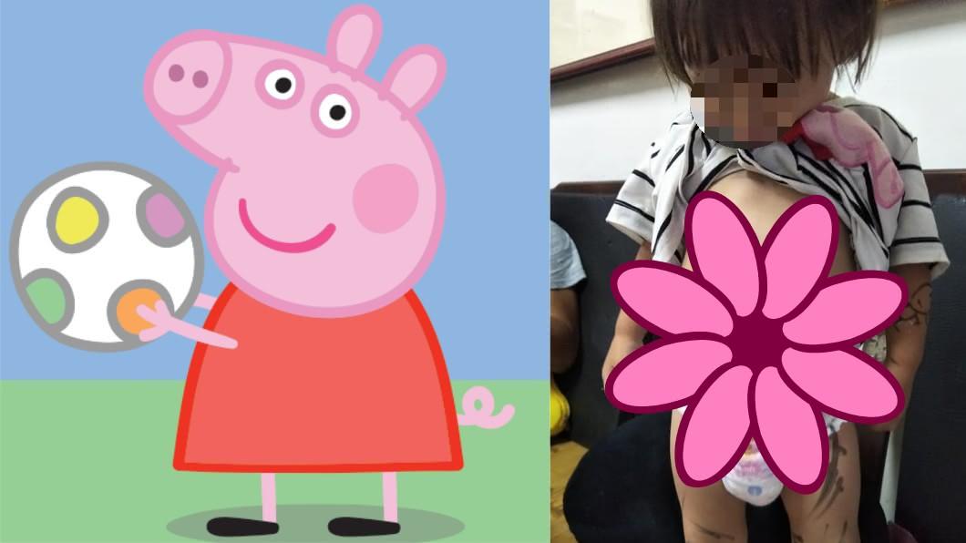 爸爸惡搞小孩畫上佩佩豬。圖/翻攝自(左)Peppa Pig臉書、(右)爆怨公社 女兒炫耀「佩佩豬刺青」 媽傻眼:這洗不掉啦!