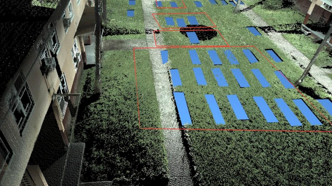 藍色部分是被雷達掃描到的棺材。圖/翻攝自Twitter 公寓下藏120副棺材 千名住戶睡骸骨上全嚇壞
